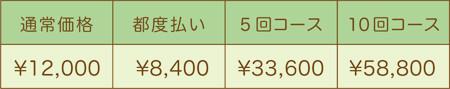 フォトフェイシャル料金表